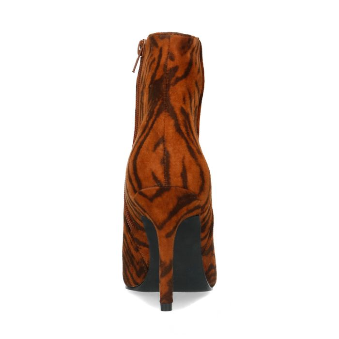 Stiefeletten mit Tigermuster und Pfennigabsatz