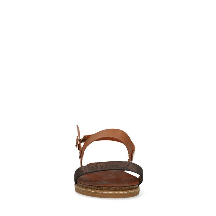Braune Sandalen mit bronzefarbenem Detail
