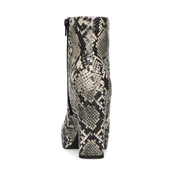 Graue Schlangenmuster-Stiefeletten mit Absatz