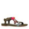 Dunkelgrüne Sandalen mit Pom-Pomps