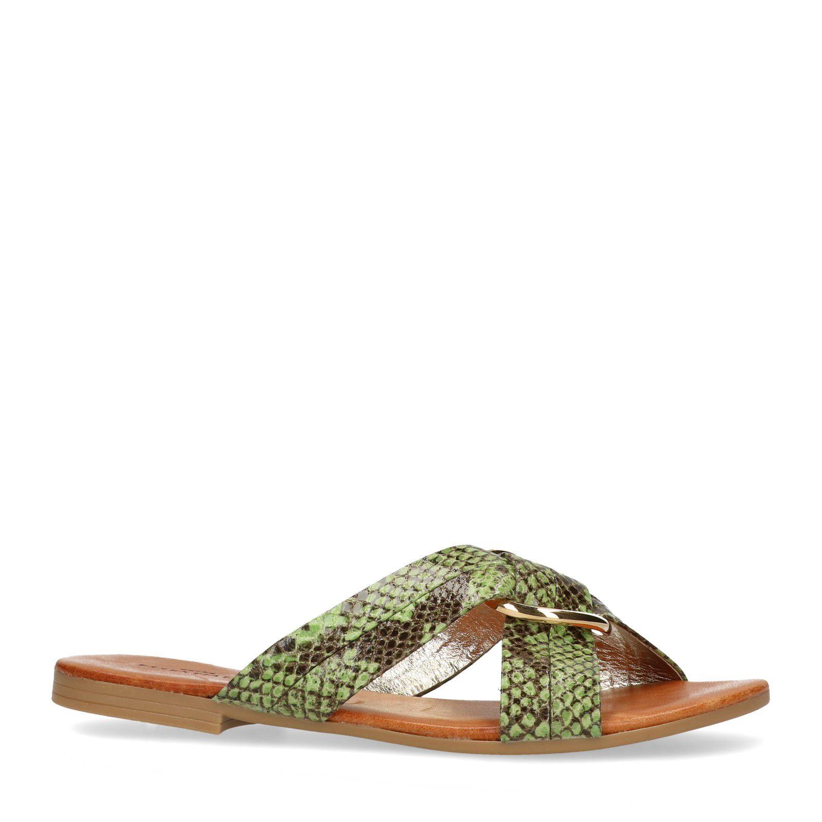 Sacha Grüne Sandalen mit Schlangenmuster