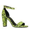 Neongrüne Sandaletten mit Schlangenmuster