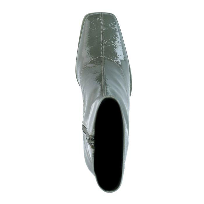 Glänzende kaki Stiefeletten mit Absatz