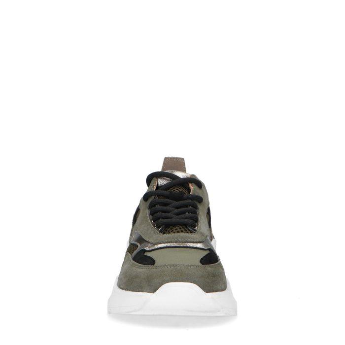 Kaki Sneaker mit silberfarbenen Details