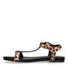 Schwarze Sandalen mit Leopardenmuster