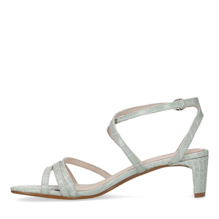 Mintfarbene Sandaletten mit Krokomuster und schmalem Absatz
