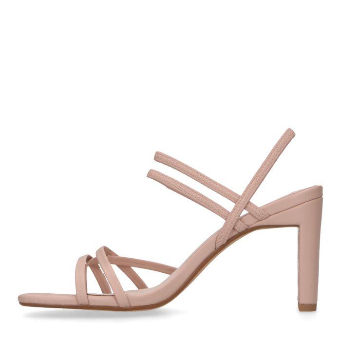 Nudefarbene Leder-Mules mit Riemchen