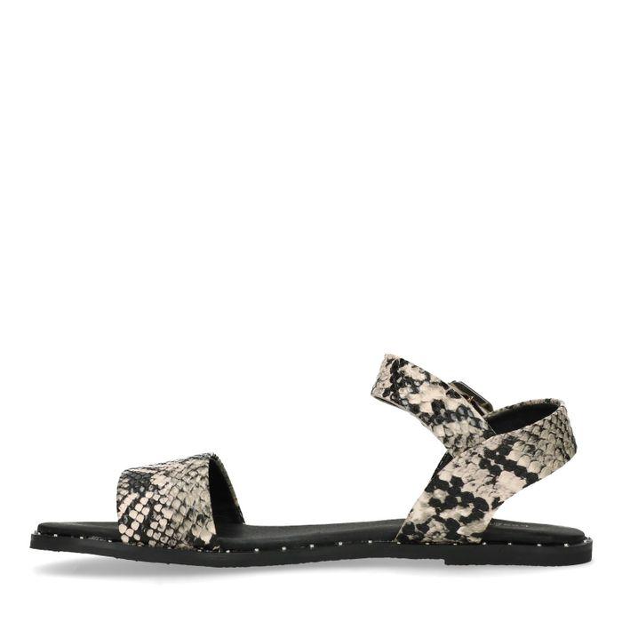 Sandalen mit Schlangenmuster und Nieten