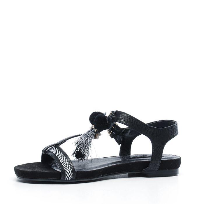 Schwarze Sandalen mit Pom-Poms