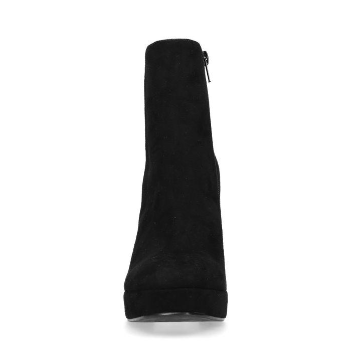Schwarze Stiefeletten mit Plateausohle und Absatz