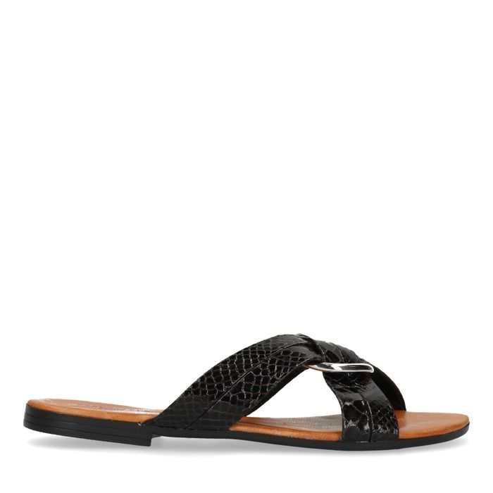 Schwarze Sandalen mit Schlangenmuster