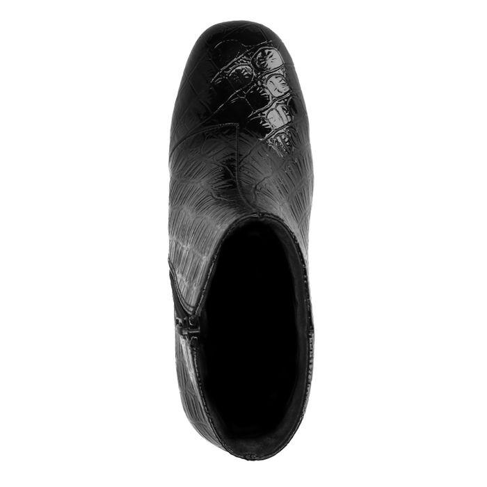Schwarze Absatz-Stiefeletten mit Krokomuster