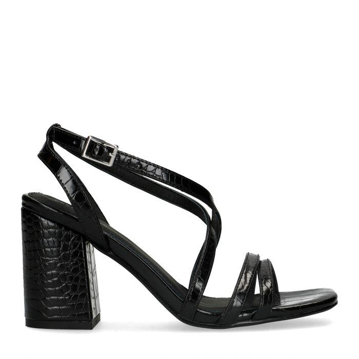 Schwarze Sandaletten mit Krokomuster