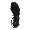 Schwarze Sandaletten mit Krokomuster und schmalem Absatz