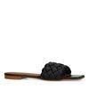 Schwarze Ledersandalen mit geflochtenem Riemchen