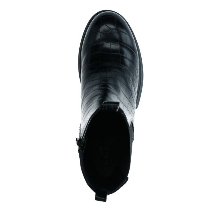 Schwarze Chelsea Boots mit Krokomuster