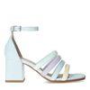 Hellblaue Sandaletten mit farbigen Riemchen