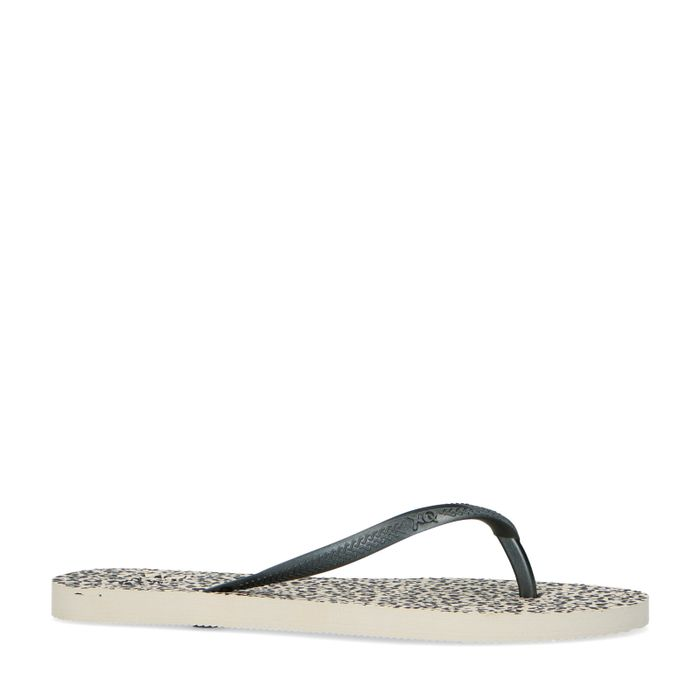 Schwarze Sandalen mit Gepardenmuster