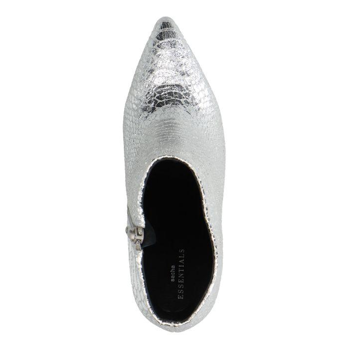 Silberne Stiefeletten mit Absatz