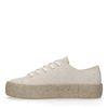 Beigefarbene Glitzer-Sneaker mit Jutesohle