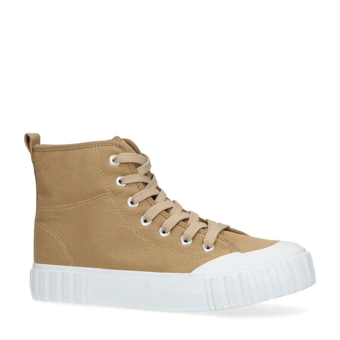 Halbhohe beigefarbene Sneaker