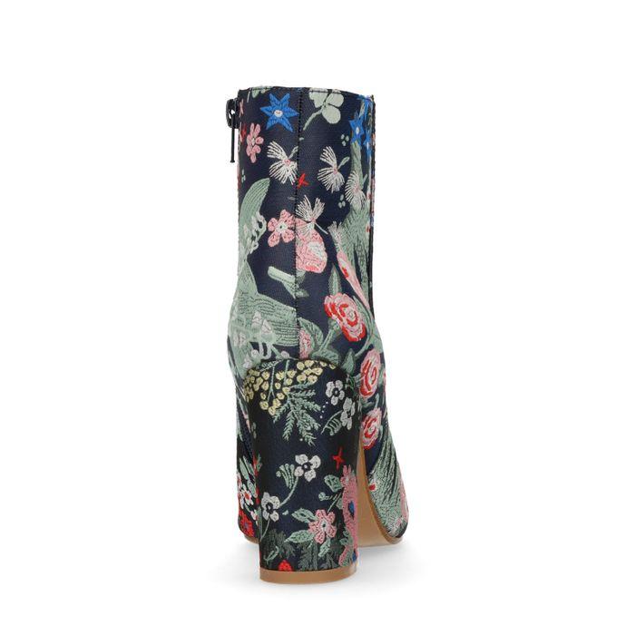 Dunkelblaue Stiefeletten mit Blumenmuster