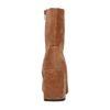 Kurze cognacfarbene Cord-Stiefel mit Absatz