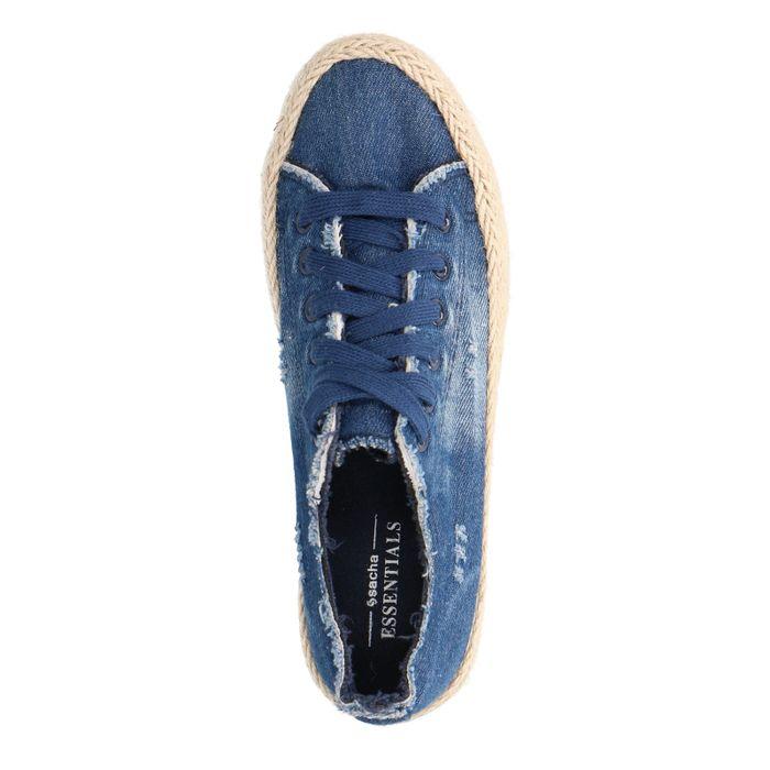 Denim-Sneaker mit Jutesohle