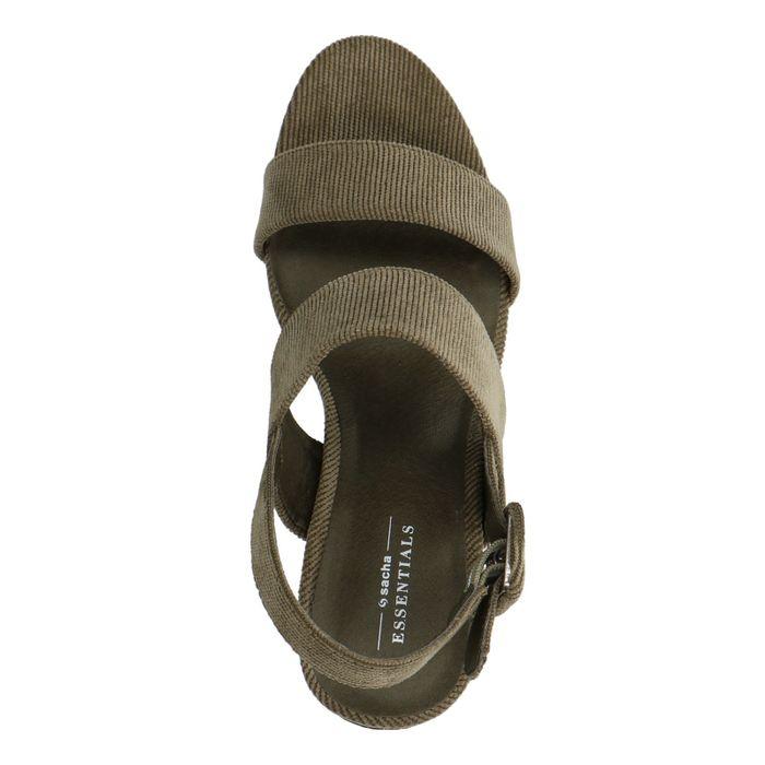 Dunkelgrüne Cord-Sandaletten