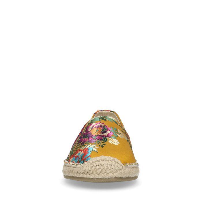 Gelbe Espadrilles mit Blumenmuster