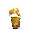 Gelbe Keilsandalen mit Blumenmuster