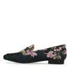 Schwarze Loafer mit rosafarbenem Blumenmuster