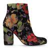 Dunkelgraue Glitzer-Stiefeletten mit Absatz und Blumenmuster