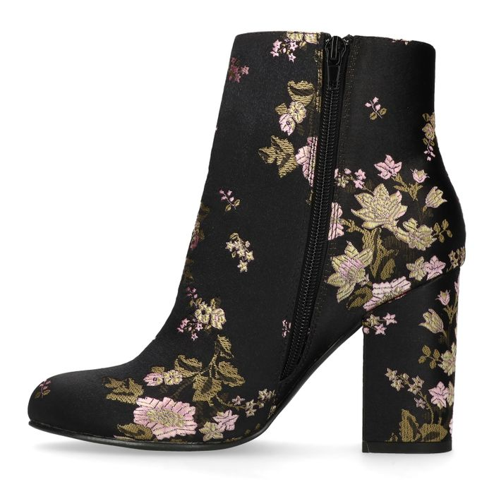 Schwarze Satin-Stiefeletten mit Absatz und Blumenmuster