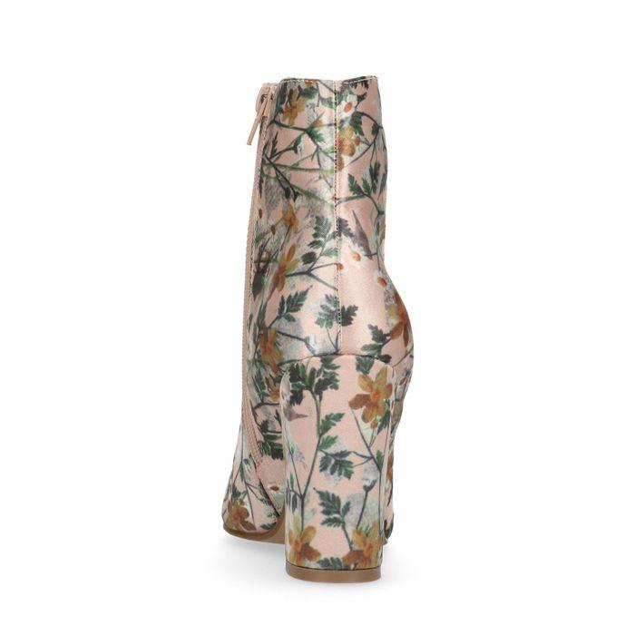 Nudefarbene Stiefeletten mit Blumenmuster