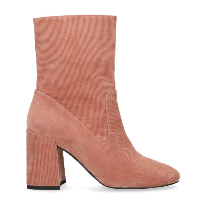 Kurze rosafarbene Cord-Stiefel mit Absatz