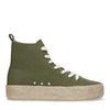Halbhohe dunkelgrüne Sneaker mit Jutesohle