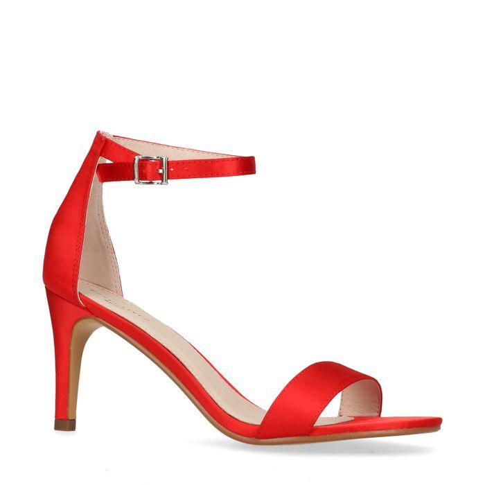 Rote Sandaletten in Satin-Optik