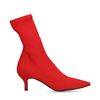 Rote Sock Boots mit Kitten-Heel