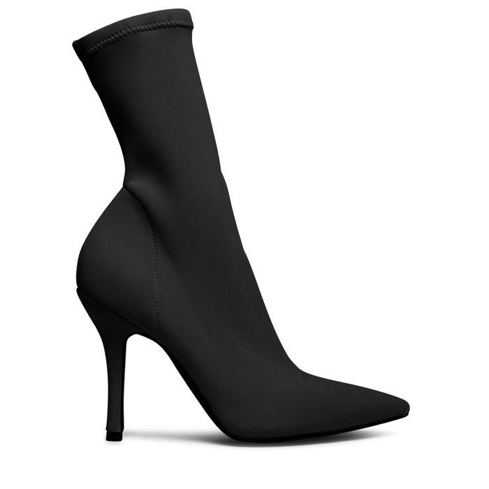 Schwarze Sock Boots mit Absatz