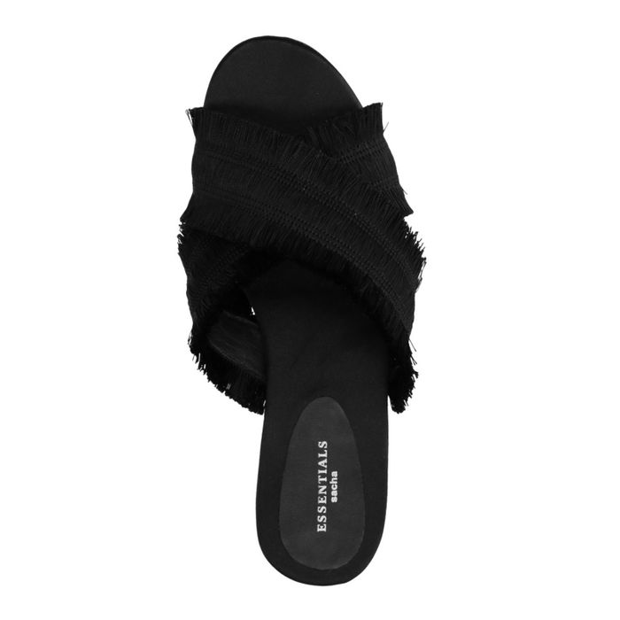 Schwarze Sandalen mit Fransen