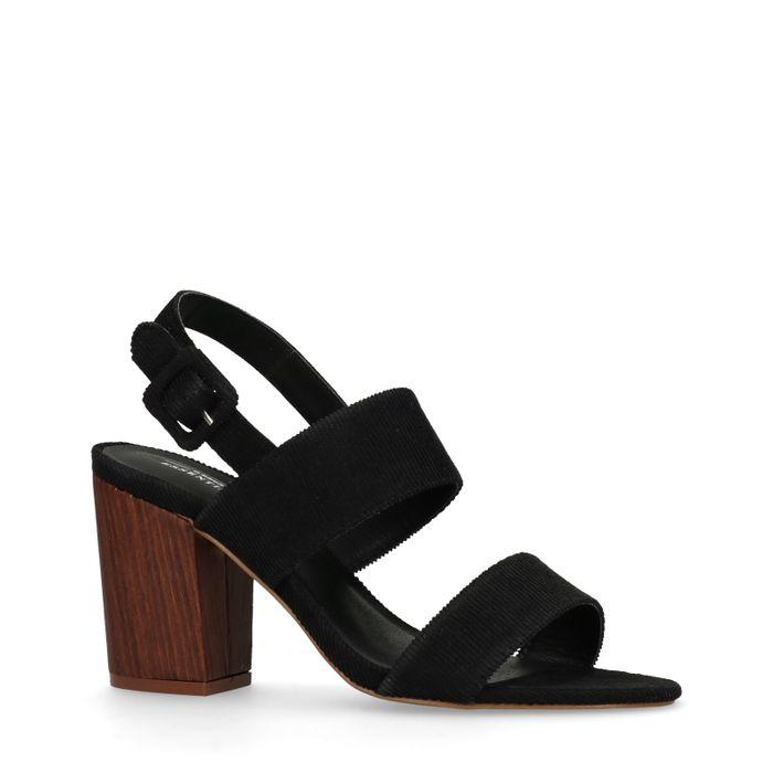 Schwarze Cord-Sandaletten