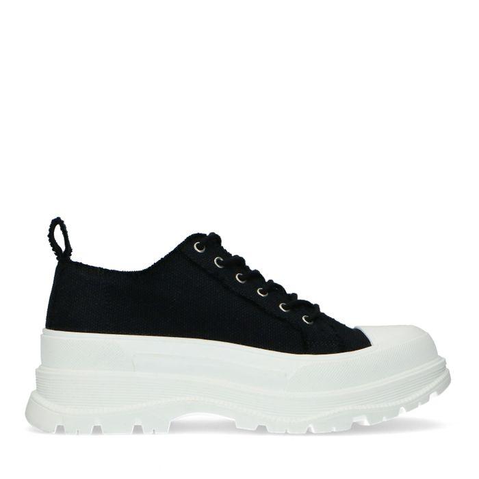 Schwarze Dad-Sneaker aus Textil
