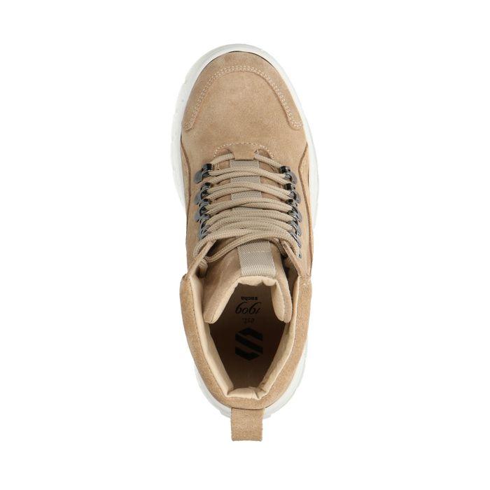 Beigefarbene Dad-Sneaker mit hohem Schaft