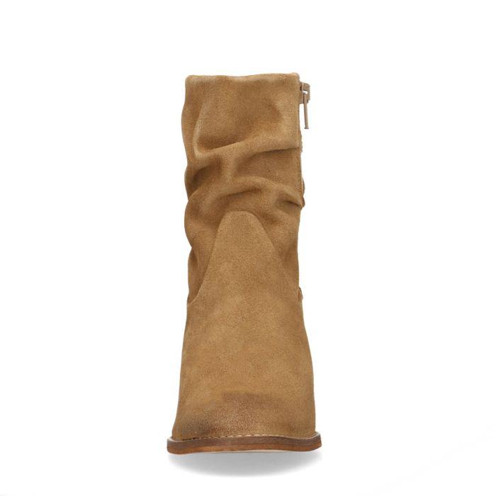 Beigefarbene Veloursleder-Stiefeletten mit Absatz