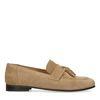 Beigefarbene Veloursleder-Loafer