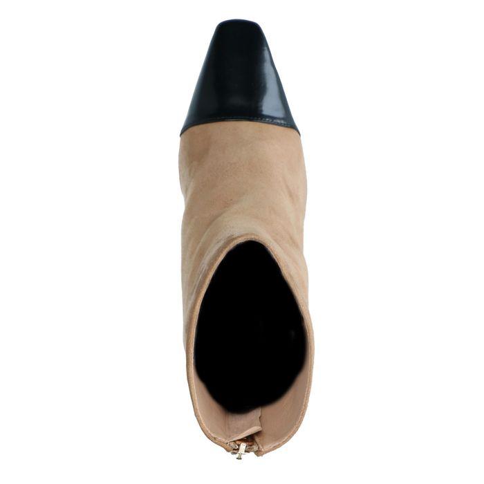 Beigefarbene Stiefeletten aus Veloursleder