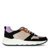 Schwarze Veloursleder-Sneaker mit farbigen Details