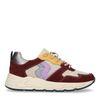 Bordeauxfarbene Veloursleder-Sneaker mit farbigen Details