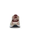 Beigefarbene Dad-Sneaker aus Veloursleder mit farbigen Details
